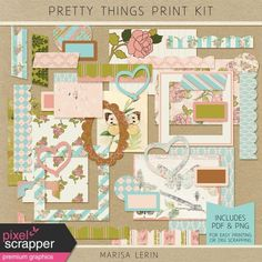 Pretty Things Print Kit Spring Green, Journal Cards, Digital Scrapbooking, Pink White, Place Cards, Greeting Cards, Kit, Floral, Pretty