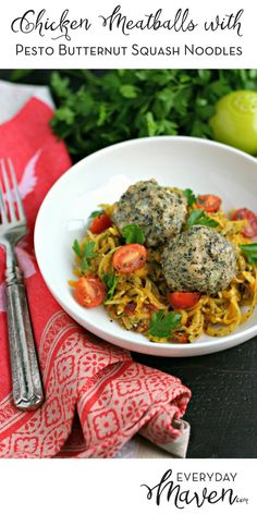 Business Cookware Ought To Be Sturdy And Sensible Chicken Meatballs With Pesto Butternut Squash Noodles. A Quick And Easy Meal Made In Under 30 Minutes Made In Partnership With New Seasons Market. By means of Everydaymaven Butternut Squash Noodle, Squash Noodles, Veggie Noodles, Real Food Recipes, Healthy Recipes, Yummy Recipes, Yummy Food, Paleo Ideas, Healthy Options