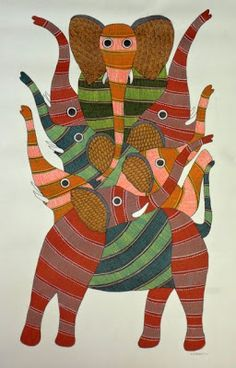 by Rajendra Shyam, Gond art of India Kunst Der Aborigines, Hand Painted Fabric, Madhubani Art, Bright Art, Indian Folk Art, Madhubani Painting, Soul Art, Elephant Art, Aboriginal Art