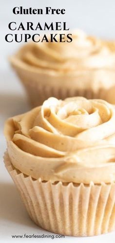 These cute Gluten Free Caramel Cupcakes are decorated like flowers. Perfect for a birthday, graduation, or any celebration. This caramel cupcakes recipe is a beautiful addition to your dessert buffet. Homemade caramel frosting too. www.fearlessdining.com #caramel #glutenfree #glutenfreecupcakes #glutenfreedessert #caramelfrosting