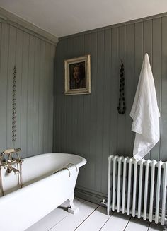 Modern Country bathroom, with tongue and groove paneling painted in Farrow and… Bad Inspiration, Small Bathroom, Bathroom Grey, Bathroom Inspo, Family Bathroom, Bathroom Vanities, Bathroom Designs, Modern Bathroom, Modern Vanity