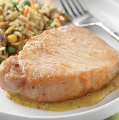 Honey-dijon pork chops. I'm totally going to have to try this. It looks delicious..