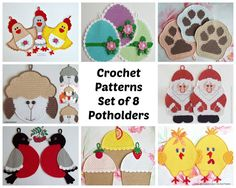 8 potholders set 1. Amigurumi Crochet Patterns - 4 Pdf files by Zabelina Etsy