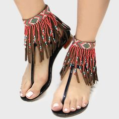 Leather Fringe Cuff Anklets Boho Beaded Suede Turquoise, Red, or Cream - new season bijouterie Beaded Anklets, Leather Fringe, Suede Leather, Brown Leather, Bare Foot Sandals, Ankle Bracelets, Boho Jewelry, Bohemian Style, Shoe Boots