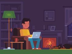 Dribbble - Cozy living room by Alexey Kuvaldin