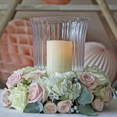Clear Glass Footed Vase Or Hurricane Lantern