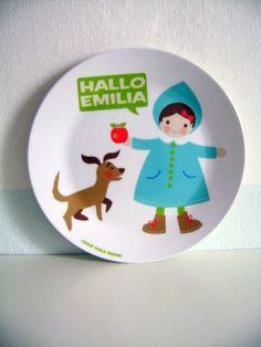 Melamin-Kinderteller, Mädchen mit Hund
