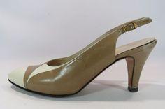 Salvatore Ferragamo Womens Slingback Heels Tan and White Leather Size 8 1/2 B HC #SalvatoreFerragamo #PumpsClassics
