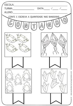 Atividade pronta - Quantidade com temática junina - A Arte de En sinar e Aprender 1st Grade Math, First Grade, Parenting Quotes, Kids And Parenting, English Activities, Preschool Math, Maths, Math Worksheets, Kids Health