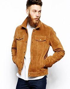 Homme Marron//Marron Clair En Daim Doux Cuir Denim Style Western Camionneur summer jacket