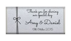 Bow On Silver Shimmer Paper Wedding Chocolates