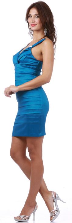 Tight Fit Teal Reception Dress Pleated Wide Straps Short Above Knee $89.99