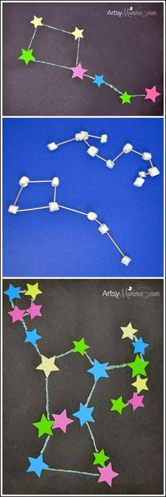 STEM Activities: Learning about Constellations - Crafts, Sculptures, & iPad App (Earth Science) Space Preschool, Space Activities, Science Activities, Science Projects, Space Crafts For Kids, Outer Space Crafts, Matter Activities, Camping Activities, Art Projects