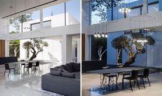 Maison transparente et minimaliste en Israël - Clem Around The Corner Home Design Decor, Interior Design Kitchen, Modern Interior Design, Interior Design Inspiration, House Design, Home Decor, Studio Design, High Ceiling Living Room, Living Room Modern