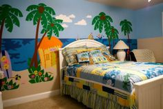 Just tape, trace & paint this easy DIY paint-by-number wall mural that features a beach hut under the palm trees with a couple of surfboards, beach towels. Beach Wall Murals, Wall Murals Bedroom, Kids Wall Murals, Murals For Kids, Bedroom Themes, Bedroom Decor, Bedroom Ideas, Trendy Bedroom, Girls Bedroom