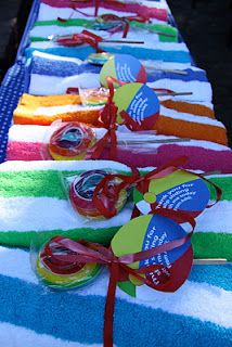 towel party favor for beach theme