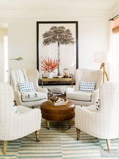 Round table sitting areas have increased in popularity over in past 10 years. So, how do you create the perfect round table sitting area?  #roundtable #conversationseating #seatingideas #livingroomideas #readingnook #roundtableseating #smalllivingroomideas #sittingroom #sittingroomideas Ottoman In Living Room, Living Room Furniture Layout, Living Room Seating, Living Room Chairs, Living Room Designs, Dining Room, Office Furniture, Dining Chairs, Outdoor Furniture