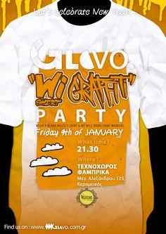 GloVo White T-shirt / Graffiti Party Graffiti, Party, Mens Tops, T Shirt, Supreme T Shirt, Tee Shirt, Parties, Tee, Graffiti Artwork