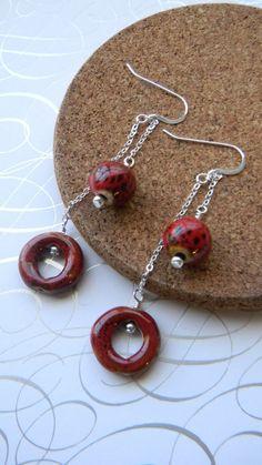 Long Porcelain dangle earrings by JulieEllisDesigns