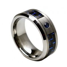 Tungsten Carbide Ring with 0.04ct BLUE SAPPHIRE Center Stone with Blue & Black Carbon Fiber Inlay 8mm