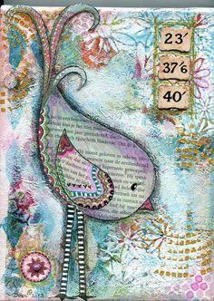 Mixed Media Bird on Canvas van CherishedByDees op Etsy