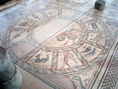 Israel, Hammath synagogue, south of Tiberias, Zodiac mosaic from the 4th century