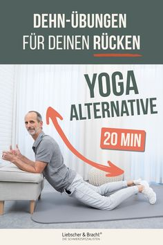 YOGA alternative for your back Relieve tension - Your back keeps giving you complaints and nothing seems to help permanently? Today we will show you - Fitness Workouts, Yoga Fitness, Health Fitness, Pilates Workout Videos, Massage, Bulletins, Triathlon, Yoga Poses, Alternative