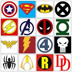 Super Hero Symbols. These are great for fun play, parties, costumes, posters, etc.