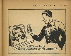 Drinking - Vintage book illustration from What are the odds, 1949
