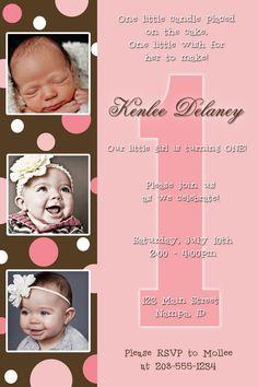PINK & BROWN Polka Dot Girl Birthday Party invitation - Premade - 4x6