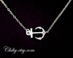 Silver anchor necklace anchor charm necklace