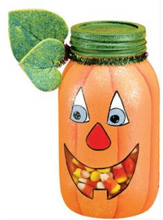 DecoArt® Pumpkin Mason Jar #halloween #craft a really good idea to gift to friends and/or teachers