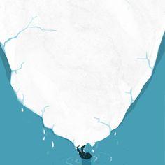 The melting of Antarctic ice sheet.