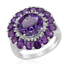Liquidation Channel:  Lusaka Amethyst and Diamond Ring in Platinum Overlay Sterling Silver (Nickel Free)