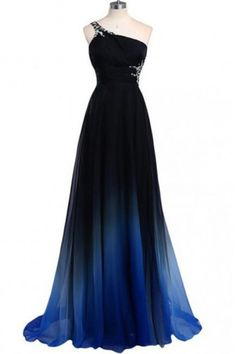 A-line One Shoulder Sweep Train Beading Long Evening Prom Dress