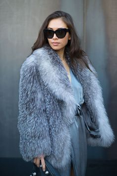#RumiNeely in luxe materials silk and fur. NYC