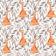 Fox Fabric  Floral Fox By Shopcabin  Boho Nursery by Spoonflower