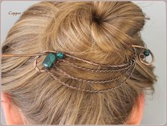 Hair Clip, Bun Holder, Copper, Hair Slide, Hair Pin, Hair Barrette, Hair Stick, Green Beads Stones, Wire Hair Accessories Twisted Wire Waves by CopperStreetStudios on Etsy https://www.etsy.com/listing/231229755/hair-clip-bun-holder-copper-hair-slide