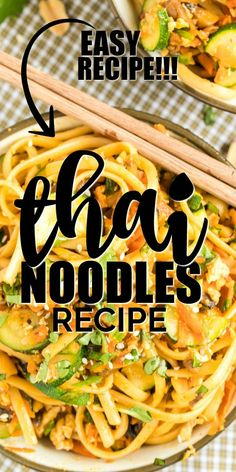 Simple, satisfying and absolutely delicious, these spicy Thai noodles are a fast and easy yummy dinner idea. You can skip weeknight take out by making this favorite from scratch. Tender pasta noodles combine with spices for an award-winning sauce you'll love topped with peanuts and mixed with fresh veggies. You can also make it with chicken or with shrimp. Nothing beats a homemade meal! Our family loves the robust flavors and creamy, rich noodles of this spicy comfort food. Gf Recipes, Noodle Recipes, Asian Recipes, Chinese Recipes, Thai Recipes, Spicy Thai Noodles, Thai Peanut Chicken, Japanese Dishes, Vegetarian Dinners