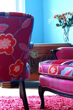 My love of beautiful fabric, pattern colour and texture inspires me every day.These vintage chairs sold for 1000.00 and the settee for 3500.00. If you have a chair or settee you want to reinvent, I can provide the fabric and designs for you to do your own chairs.