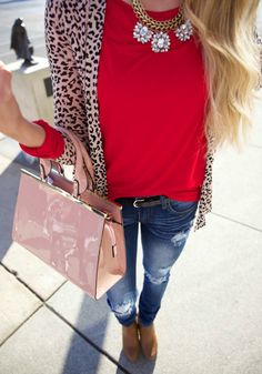 Can you say I've found my Valentine's Day outfit? day outfit for work Valentinstags Outfits, Cardigan Outfits, Fall Outfits, Casual Outfits, Leopard Cardigan Outfit, Red Blouse Outfit, Red Top Outfit, Leopard Blazer, Christmas Outfits