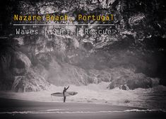 Image of a surfer hailing for a lift to the waves on Nazare Beach by MrPKalu