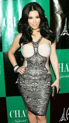 Kim K in Print Black & Beige Rayon Bandage Dress