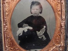 Antique Ambrotype Tintype Young Girl with Her Doll Ball | eBay