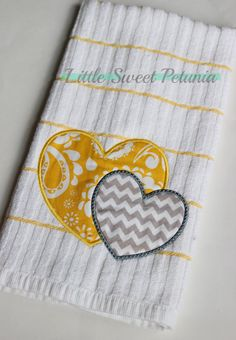 Ready To Ship Applique Kitchen Towel Two by LittleSweetPetunia