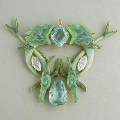 Fish pendant. Rene Lalique (1860-1945). Circa 1900. Gold, aquamarine, diamond, enamel, glass.