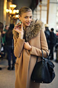 ello #AnnaSelezneva and your fab furry topper. #offduty in Paris. #PFW
