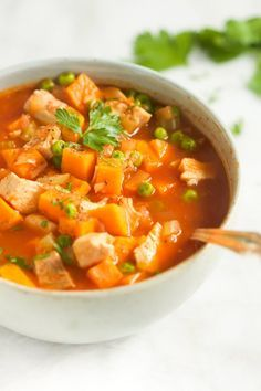 This hearty, healthy and comforting Sweet Potato Chicken Soup is made in less than 30 minutes. It's low-carb, gluten-free and paleo-friendly too. | www.primaverakitchen.com