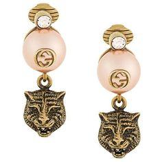 Gucci leopard earrings ($295) ❤ liked on Polyvore featuring jewelry, earrings, metallic, earring jewelry, gucci jewelry, gucci, metallic jewelry and leopard print earrings