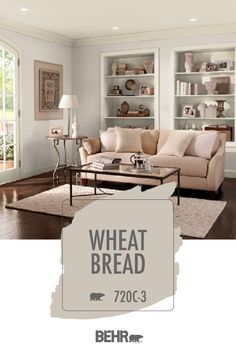 The perfect neutral paint color can make any room feel large and open. Just take this living room, for example. Behr Paint in Wheat Bread is the perfect complement for this traditional space, drawing Behr Paint Colors, Bedroom Paint Colors, Paint Colors For Living Room, Interior Paint Colors, Paint Colors For Home, House Colors, Beige Living Rooms, Home Design, Interior Design